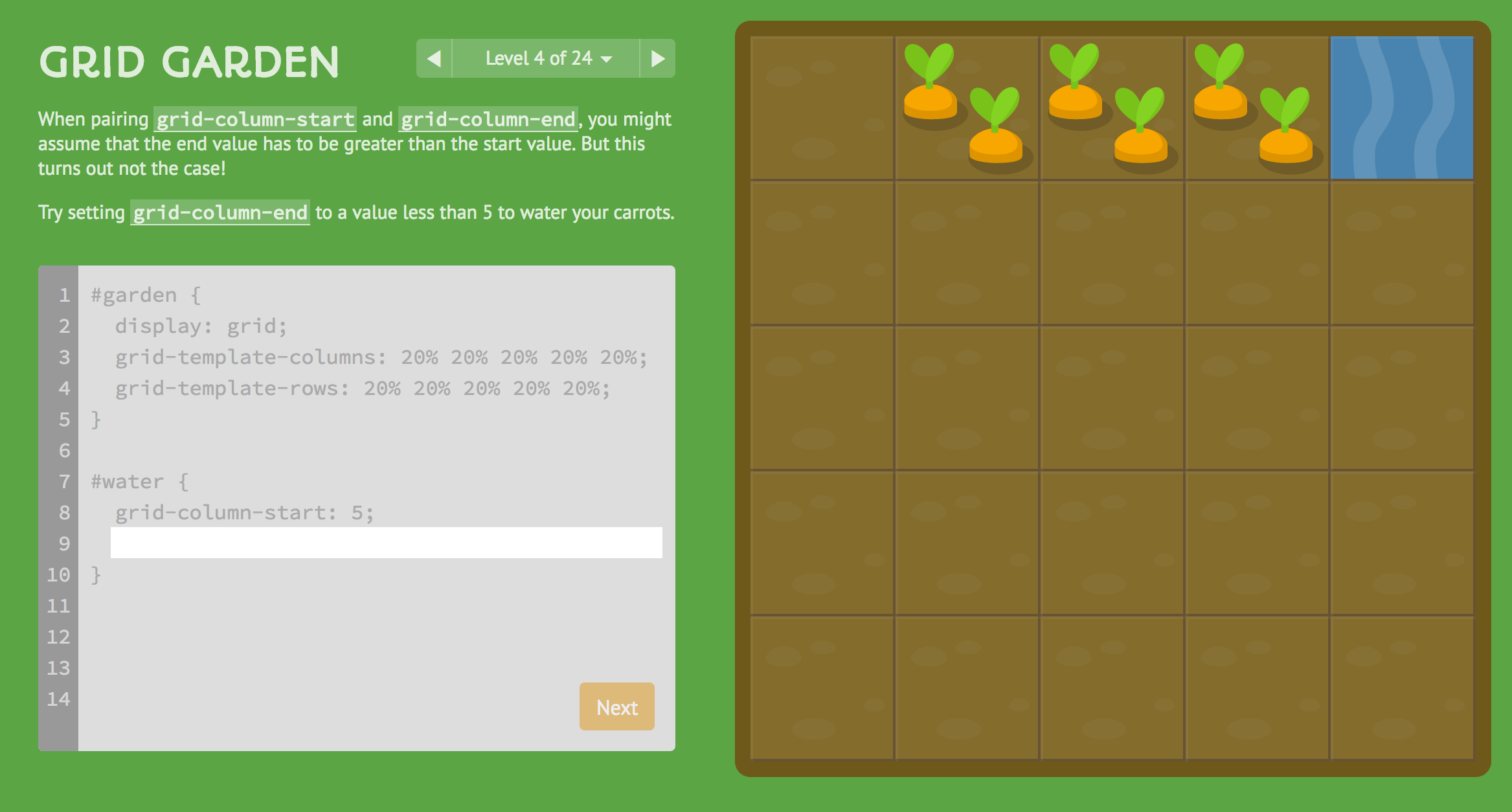Grid Garden - A game for learning CSS grid